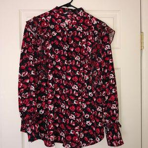 Lauren Ralph Lauren 1X red floral blouse